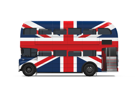 bus anglais: Double Decker Bus Bretagne Drapeau
