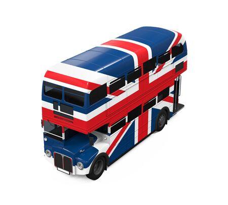 bandera de gran breta�a: Autob�s de dos pisos de la bandera de Gran Breta�a Foto de archivo