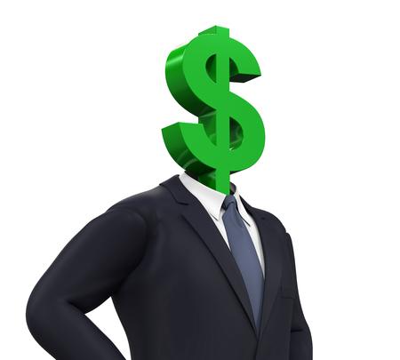 dollar symbol: Man with Dollar Symbol Head