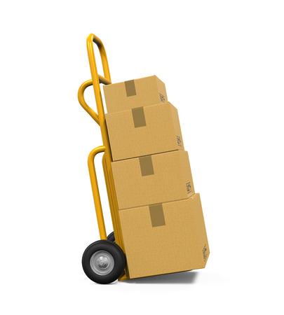 white goods: Hand Truck with Cardboard Boxes