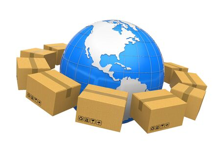 package sending: Global Shipping Illustration Stock Photo