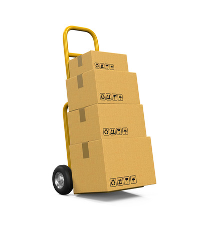 hand truck: Hand Truck with Cardboard Boxes