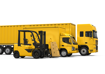 Yellow Freight Transportation. Stock Photo