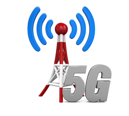 cell phone transmitter tower: Metal Antenna 5G Network Stock Photo