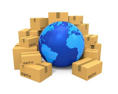 cajas de carton: Ilustración Global Shipping