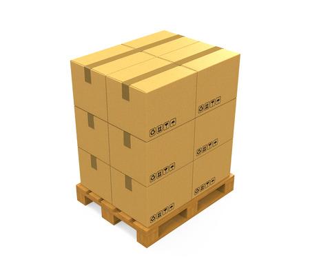 paleta de pintor: Cajas de cartón en la paleta de madera