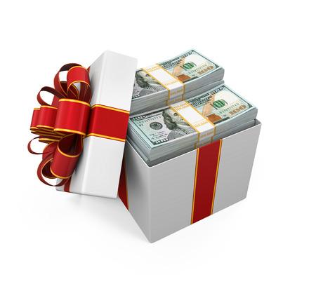 package: Gift Box Full of Money Stock Photo