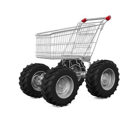 trolly: Shopping Cart With Big Car Wheel