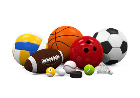 sports equipment: Sport Balls Equipment Stock Photo
