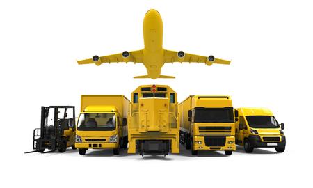 黄色の貨物輸送 写真素材