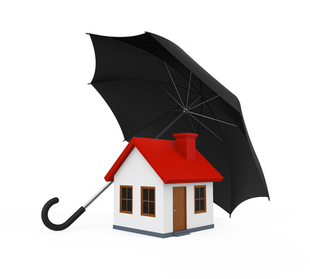red umbrella: House Covered by Umbrella
