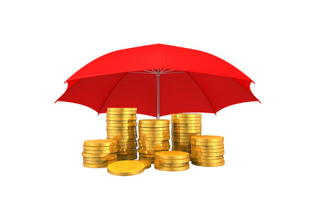 Golden Coins Under an Umbrella Stock Photo