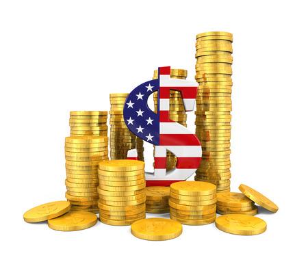 dolar: EE.UU. símbolo de dólar y monedas de oro