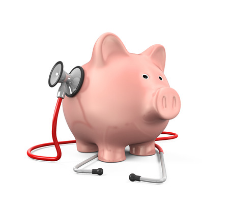 doctor money: Piggy Bank and Stethoscope