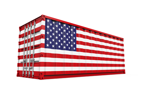 dockyard: Container with United States Flag Stock Photo