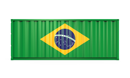 dockyard: Container with Brazil Flag Stock Photo