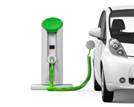 car plug: Electric Car in Charging Station
