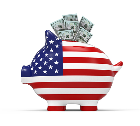 Piggy Bank with US Dollar Stock Photo
