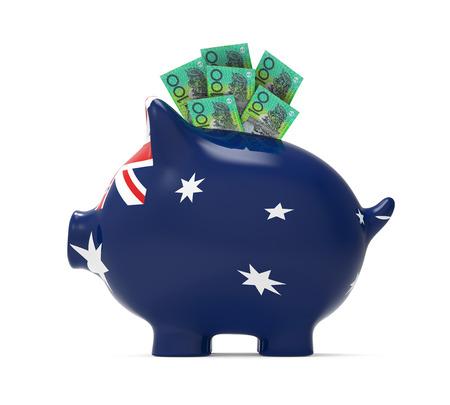 budget: Piggy Bank with Australian Dollar Stock Photo