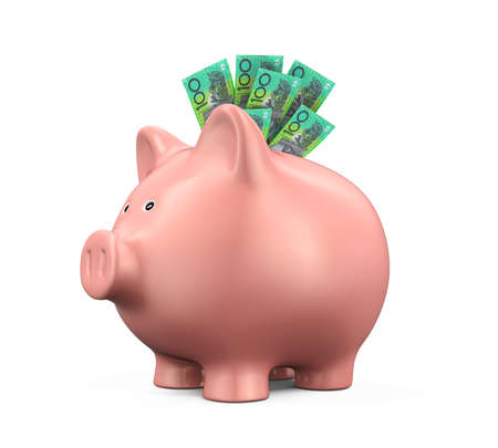 australian money: Piggy Bank with Australian Dollar Stock Photo
