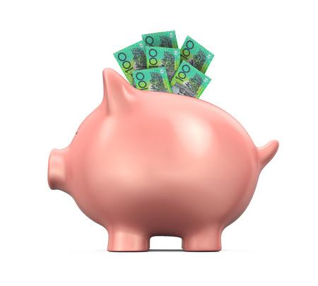 deposit: Piggy Bank with Australian Dollar Stock Photo