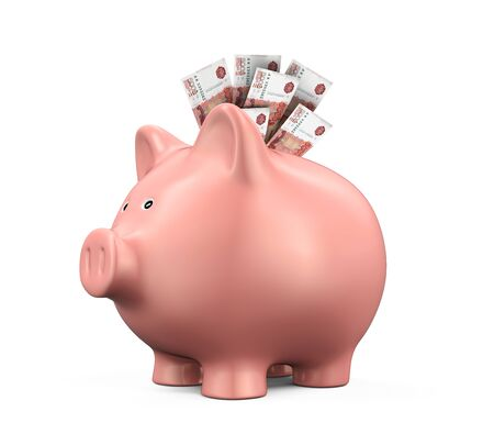ruble: Piggy Bank with Russian Ruble Stock Photo
