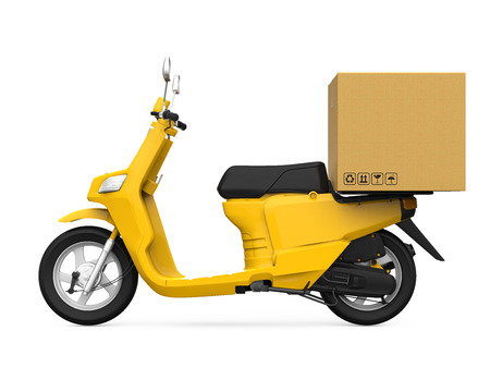 Yellow Motorcycle Delivery Box Stock Photo