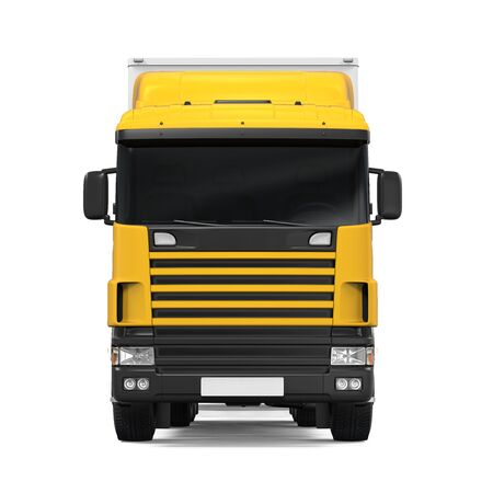 Yellow Cargo Delivery Truck