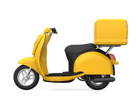 노란색 오토바이 배달 상자 스톡 콘텐츠