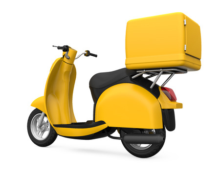 delivery box: Yellow Motorcycle Delivery Box Stock Photo