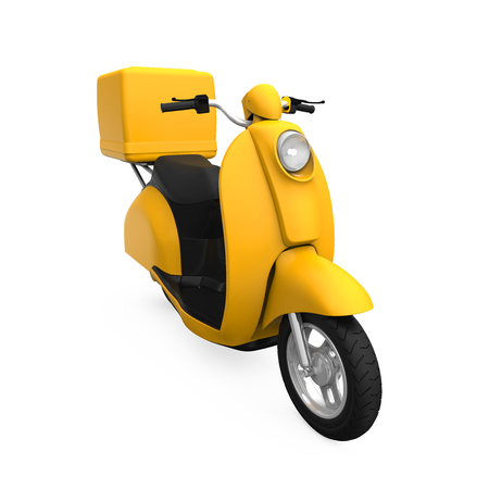 moped: Yellow Motorcycle Delivery Box Stock Photo