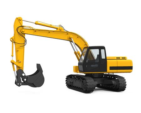 Excavadora amarilla aislada Foto de archivo