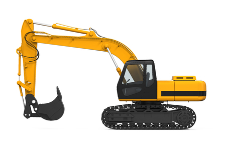 construction machinery: Yellow Excavator Isolated