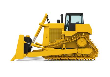 heavy machinery: Bulldozer amarillo aislado