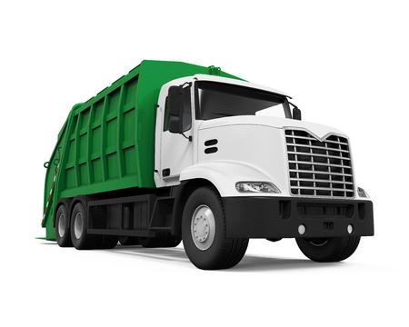 basura: Camión de la basura aislado Foto de archivo