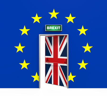 Brexit Door Illustration Stok Fotoğraf