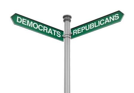 republicans: Democrats Republicans Direction Sign Stock Photo