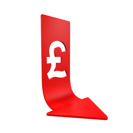 monetary devaluation: Great Britain Pound Symbol and Red Arrow