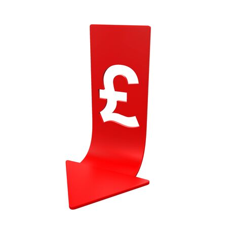 britain: Great Britain Pound Symbol and Red Arrow