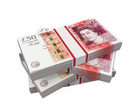 british money: Stacks of 50 Pound Banknotes