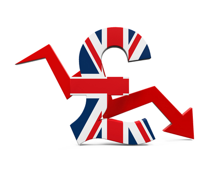 sterling: Great Britain Pound Symbol and Red Arrow