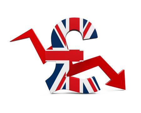 La Grande-Bretagne Pound Symbol et Red Arrow