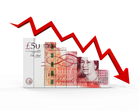 britain: Great Britain Pound and Red Arrow Stock Photo