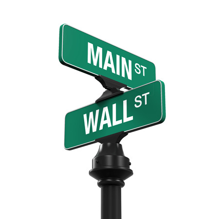 usa: Direction Sign of Main Street and Wall Street