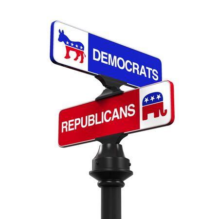 Democrats Republicans Direction Sign