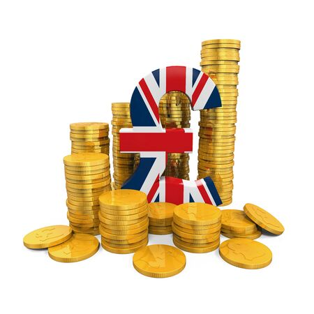 coin: Pound Symbol and Gold Coins Stock Photo