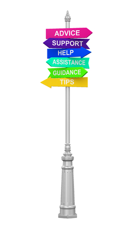 sign post: Sign Directions Support Help Tips Advice Guidance Assistance Stock Photo