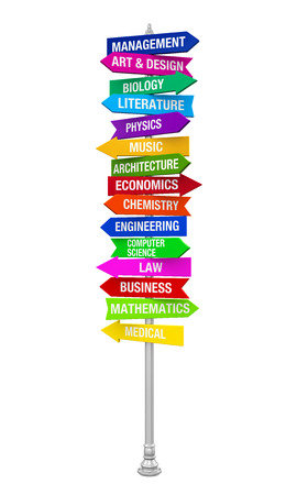 maths department: Colorful Direction Sign of Majors