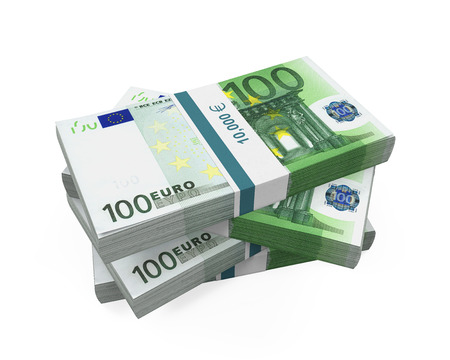 one hundred euro banknote: Stacks of 100 Euro Banknotes Stock Photo