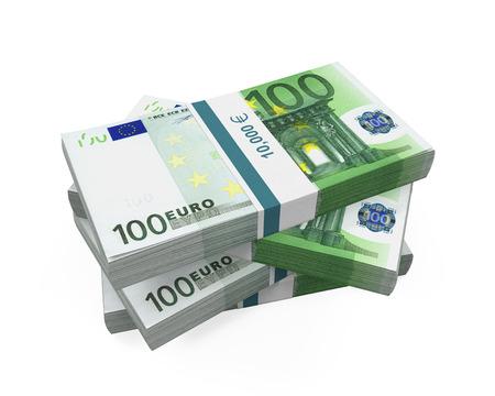 Stacks of 100 Euro Banknotes Stockfoto